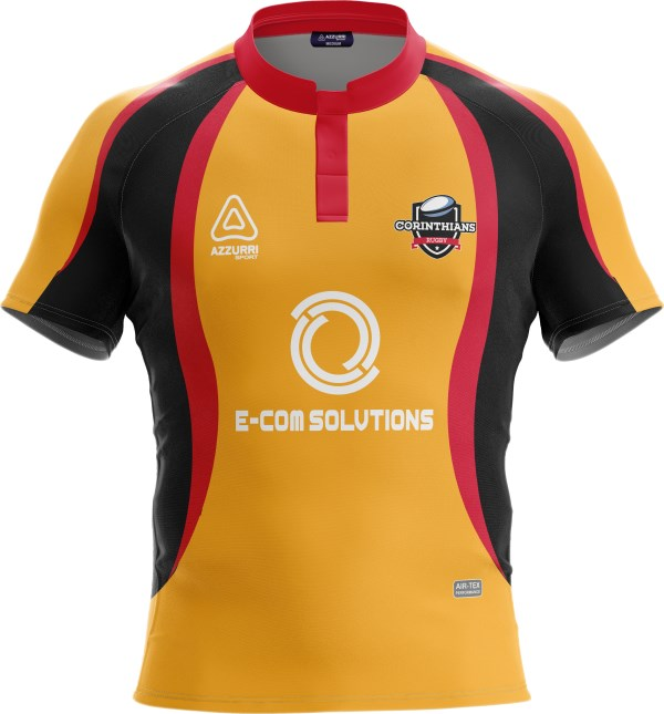 Rugby Jersey RS040 Red Gold Black