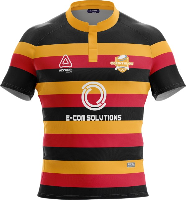 Rugby Jersey RS141 Red Gold Black
