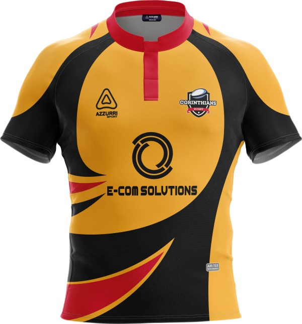 Rugby Jersey RS147 Red Gold Black