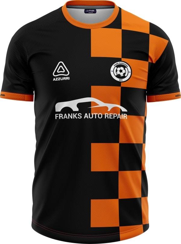 Soccer Jersey SO047 Orange Black