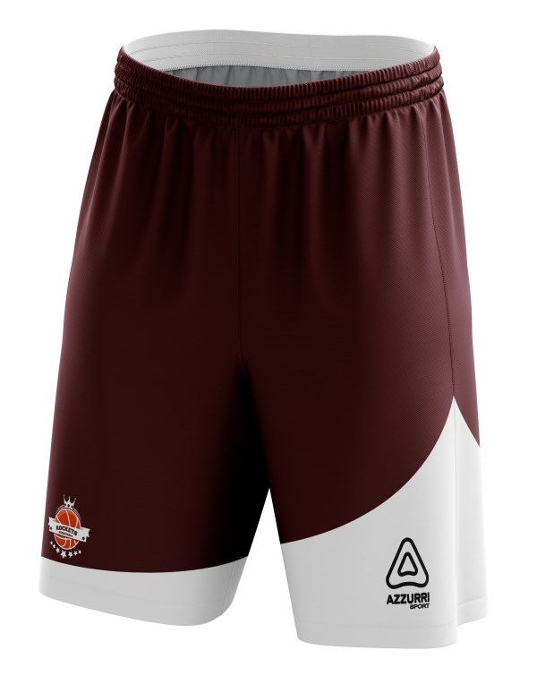 Basketball Shorts BS010 Maroon White