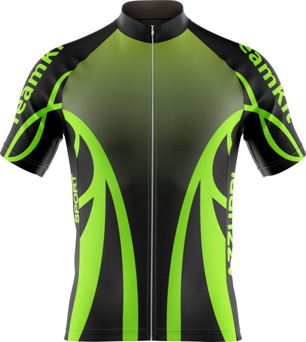 Cycling Top CY013 Black HiVisGreen